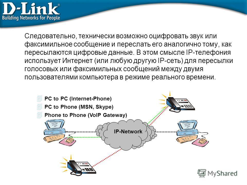 Следовательно, технически возможно оцифровать звук или факсимильное сообщение и переслать его аналогично тому, как пересылаются цифровые данные. В этом смысле IP-телефония использует Интернет (или любую другую IP-сеть) для пересылки голосовых или фак
