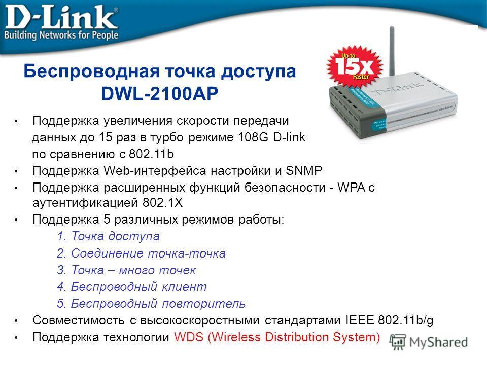 Беспроводная точка доступа DWL-2100AP Поддержка увеличения скорости передачи данных до 15 раз в турбо режиме 108G D-link по сравнению с 802.11b Поддержка Web-интерфейса настройки и SNMP Поддержка расширенных функций безопасности - WPA с аутентификаци