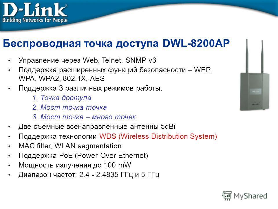 Беспроводная точка доступа DWL-8200AP Управление через Web, Telnet, SNMP v3 Поддержка расширенных функций безопасности – WEP, WPA, WPA2, 802.1X, AES Поддержка 3 различных режимов работы: 1. Точка доступа 2. Мост точка-точка 3. Мост точка – много точе