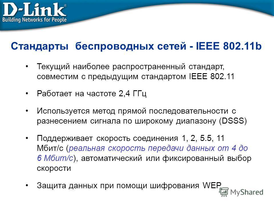 Стандарты беспроводных сетей - IEEE 802.11b Текущий наиболее распространенный стандарт, совместим с предыдущим стандартом IEEE 802.11 Работает на частоте 2,4 ГГц Используется метод прямой последовательности с разнесением сигнала по широкому диапазону