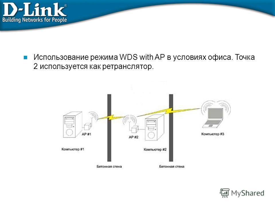 Использование режима WDS with AP в условиях офиса. Точка 2 используется как ретранслятор.