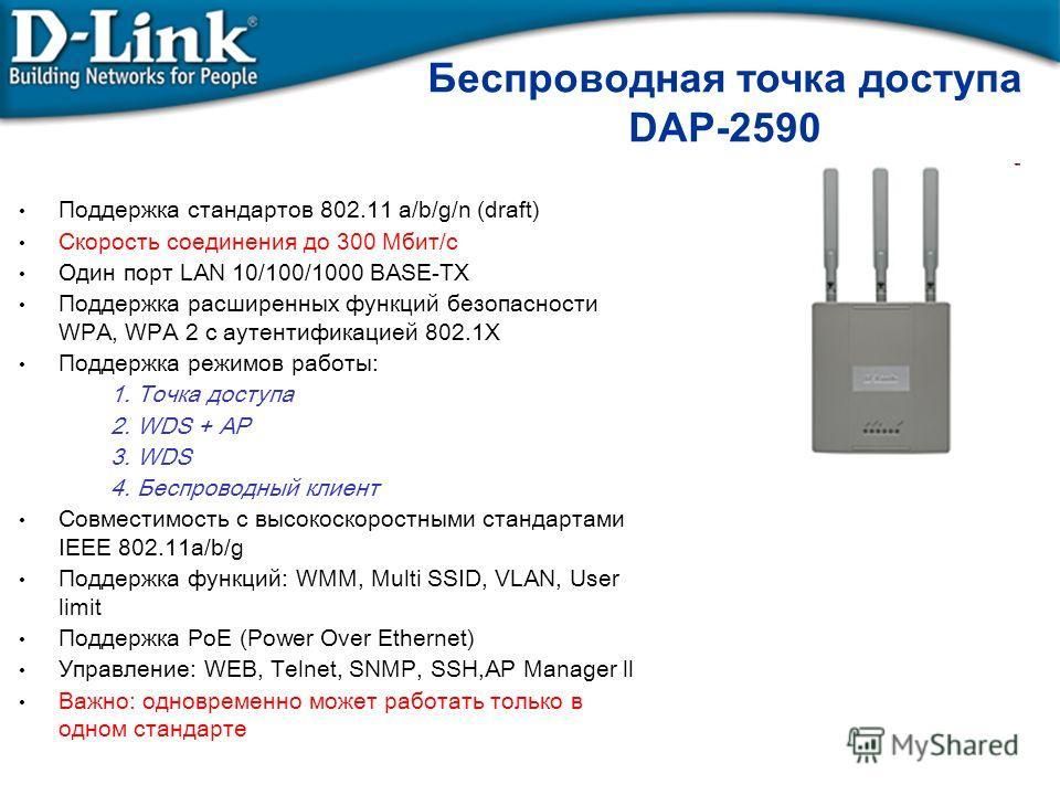 Беспроводная точка доступа DAP-2590 Поддержка стандартов 802.11 а/b/g/n (draft) Скорость соединения до 300 Мбит/с Один порт LAN 10/100/1000 BASE-TX Поддержка расширенных функций безопасности WPA, WPA 2 с аутентификацией 802.1X Поддержка режимов работ