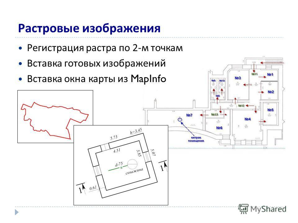 Растровые изображения Регистрация растра по 2-м точкам Вставка готовых изображений Вставка окна карты из MapInfo