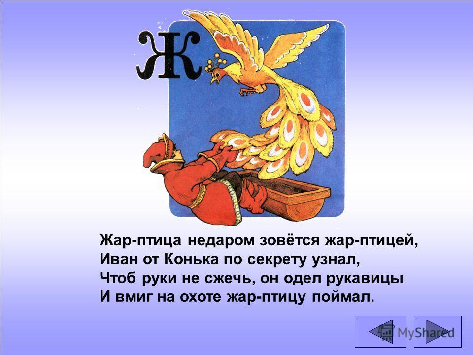 Жар-птица недаром зовётся жар-птицей, Иван от Конька по секрету узнал, Чтоб руки не сжечь, он одел рукавицы И вмиг на охоте жар-птицу поймал.