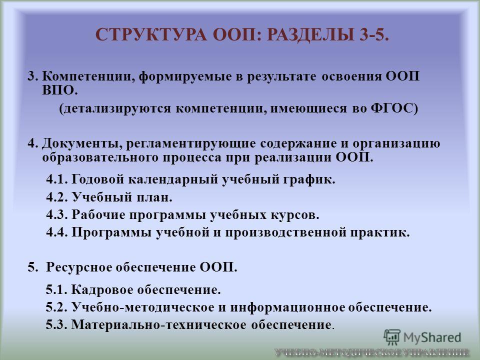 СТРУКТУРА ООП: РАЗДЕЛЫ 3-5. 3. Компетенции, формируемые в результате освоения ООП ВПО. (детализируются компетенции, имеющиеся во ФГОС) 4. Документы, регламентирующие содержание и организацию образовательного процесса при реализации ООП. 4.1. Годовой