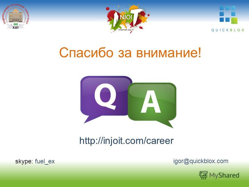 skype: fuel_ex igor@quickblox.com Спасибо за внимание! http://injoit.com/career