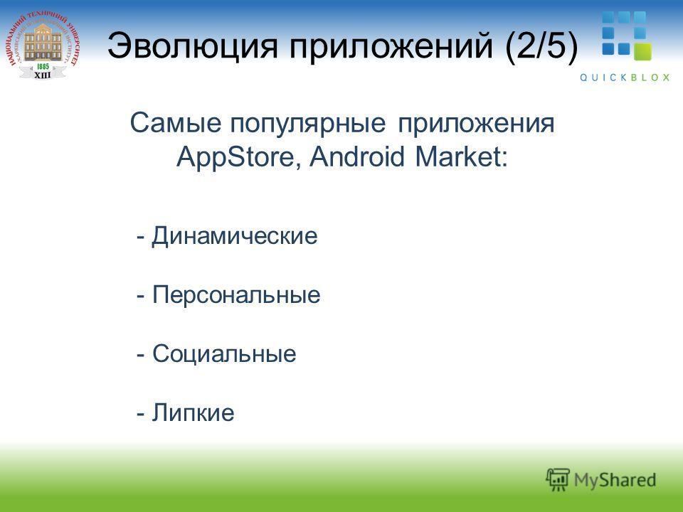 Эволюция приложений (2/5) Самые популярные приложения AppStore, Android Market: - Динамические - Персональные - Социальные - Липкие