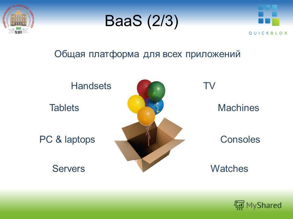 BaaS (2/3) Общая платформа для всех приложений Handsets Tablets PC & laptops Servers TV Machines Consoles Watches