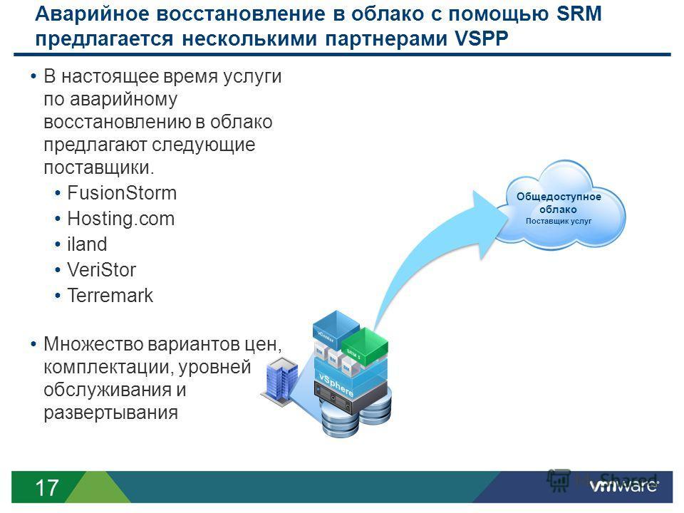 17 Аварийное восстановление в облако с помощью SRM предлагается несколькими партнерами VSPP Общедоступное облако Поставщик услуг В настоящее время услуги по аварийному восстановлению в облако предлагают следующие поставщики. FusionStorm Hosting.com i