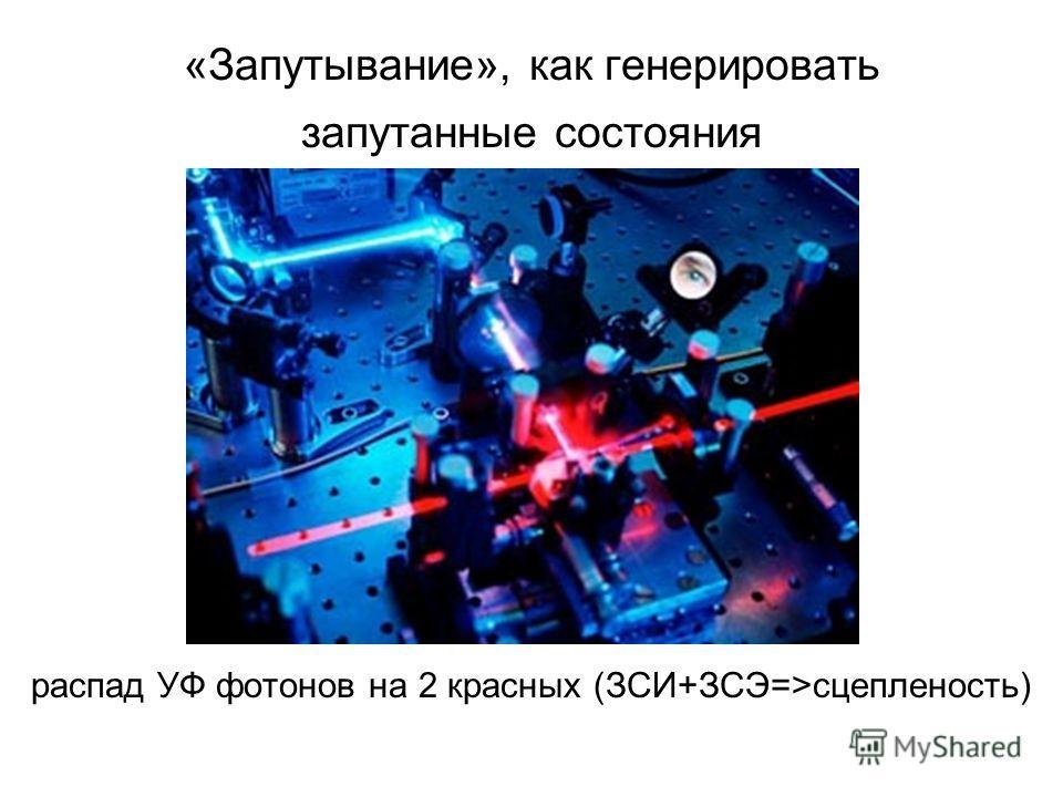 «Запутывание», как генерировать запутанные состояния распад УФ фотонов на 2 красных (ЗСИ+ЗСЭ=>сцепленость)