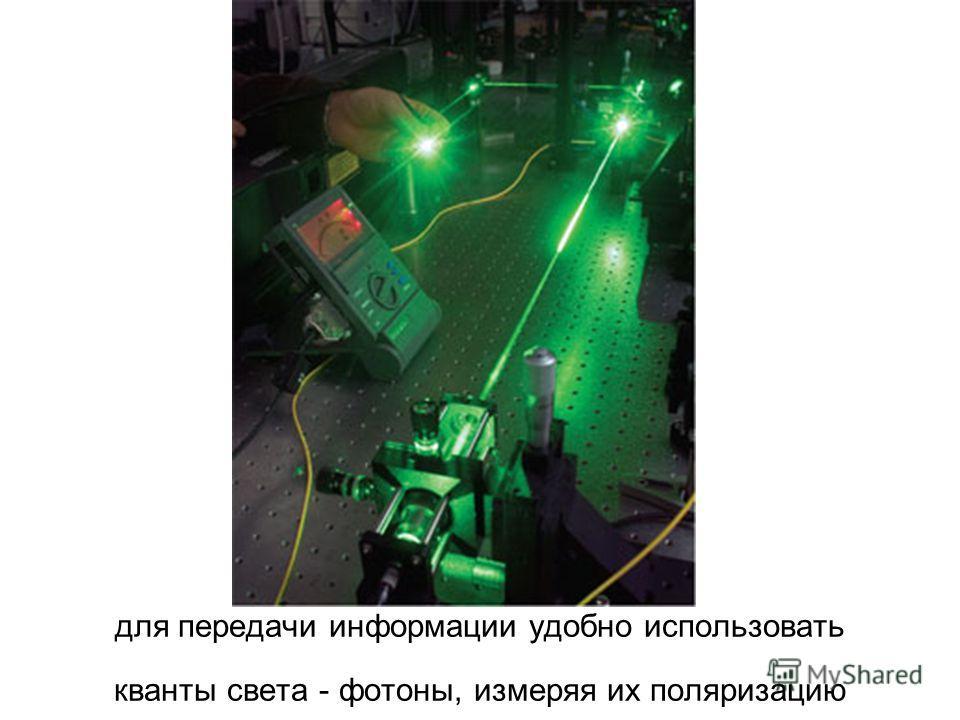 для передачи информации удобно использовать кванты света - фотоны, измеряя их поляризацию