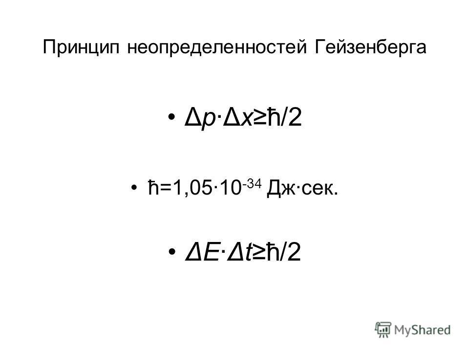 Принцип неопределенностей Гейзенберга Δр·Δхħ/2 ħ=1,05·10 -34 Дж·сек. ΔE·Δtħ/2