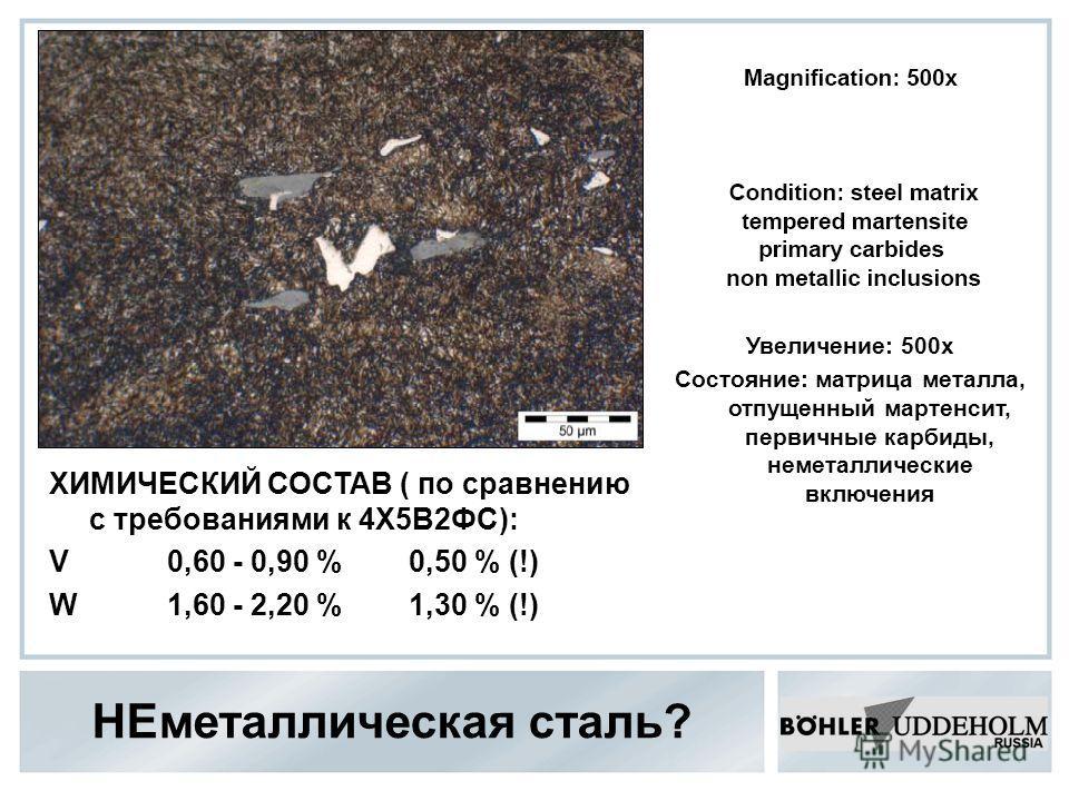 НЕметаллическая сталь? Увеличение: 500х Состояние: матрица металла, отпущенный мартенсит, первичные карбиды, неметаллические включения ХИМИЧЕСКИЙ СОСТАВ ( по сравнению с требованиями к 4Х5В2ФС): V 0,60 - 0,90 % 0,50 % (!) W 1,60 - 2,20 % 1,30 % (!)