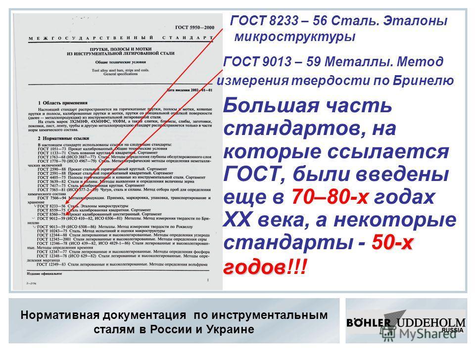 Нормативная документация по инструментальным сталям в России и Украине 0-х годов Большая часть стандартов, на которые ссылается ГОСТ, были введены еще в 70–80-х годах ХХ века, а некоторые стандарты - 50-х годов!!! ГОСТ 8233 – 56 Сталь. Эталоны микрос