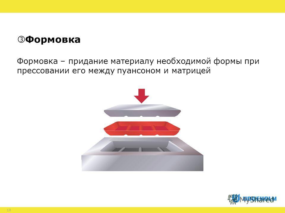10 Формовка – придание материалу необходимой формы при прессовании его между пуансоном и матрицей Формовка