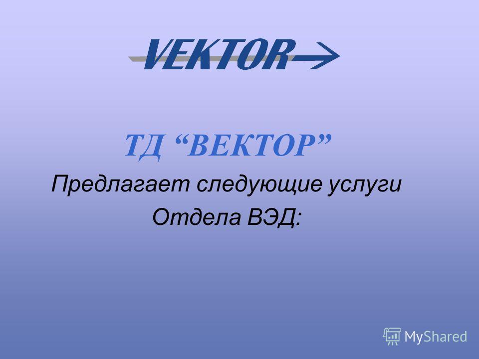 TД ВЕКТОР Предлагает следующие услуги Отдела ВЭД: