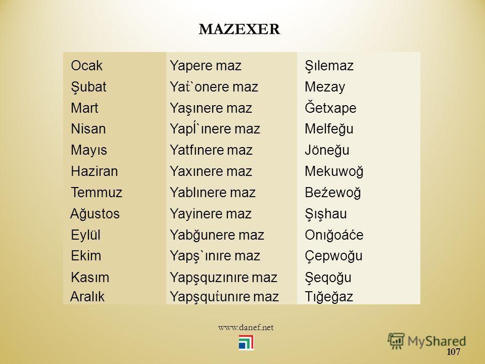 www.danef.net 106 ĞEXERMEVSİMLER ĞETXAPE İlkbahar ĞEMAF Yaz BJIHA Sonbahar ÇIMAF Kış