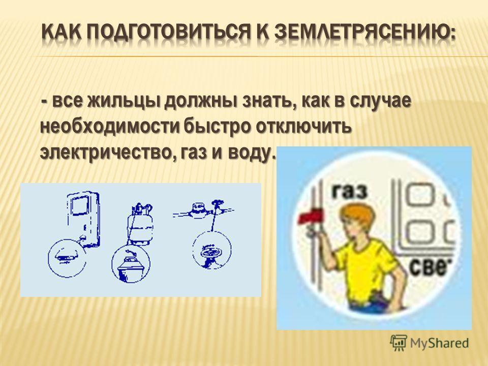 - все жильцы должны знать, как в случае необходимости быстро отключить электричество, газ и воду. - все жильцы должны знать, как в случае необходимости быстро отключить электричество, газ и воду.