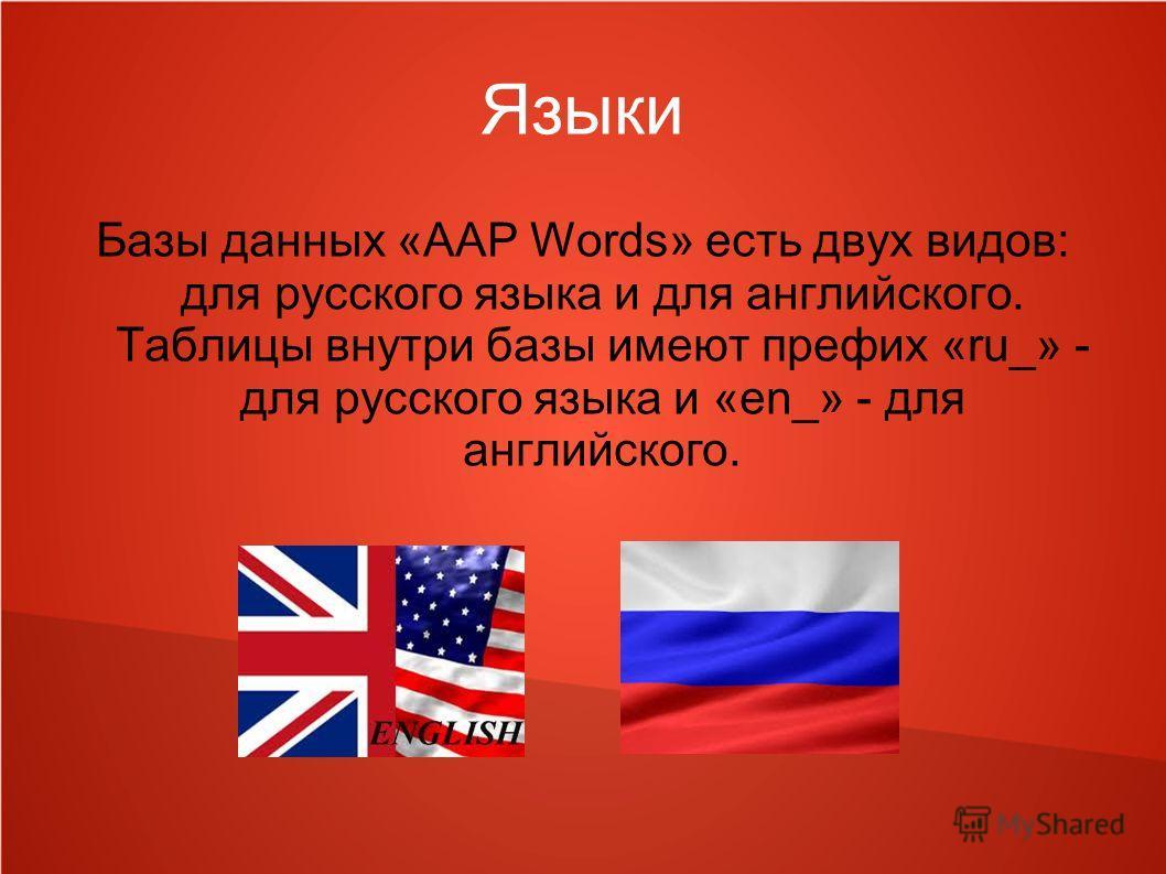 Языки Базы данных «AAP Words» есть двух видов: для русского языка и для английского. Таблицы внутри базы имеют префих «ru_» - для русского языка и «en_» - для английского.