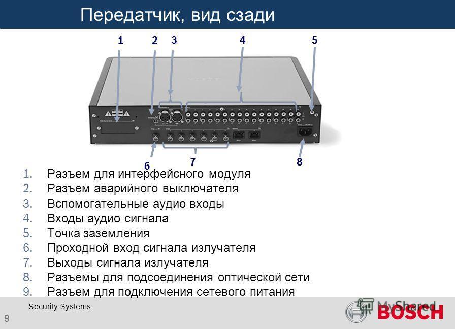 Click to edit Master title style 9 Security Systems Передатчик, вид сзади 12345 6 78 Разъем для интерфейсного модуля Разъем аварийного выключателя Вспомогательные аудио входы Входы аудио сигнала Точка заземления Проходной вход сигнала излучателя Выхо