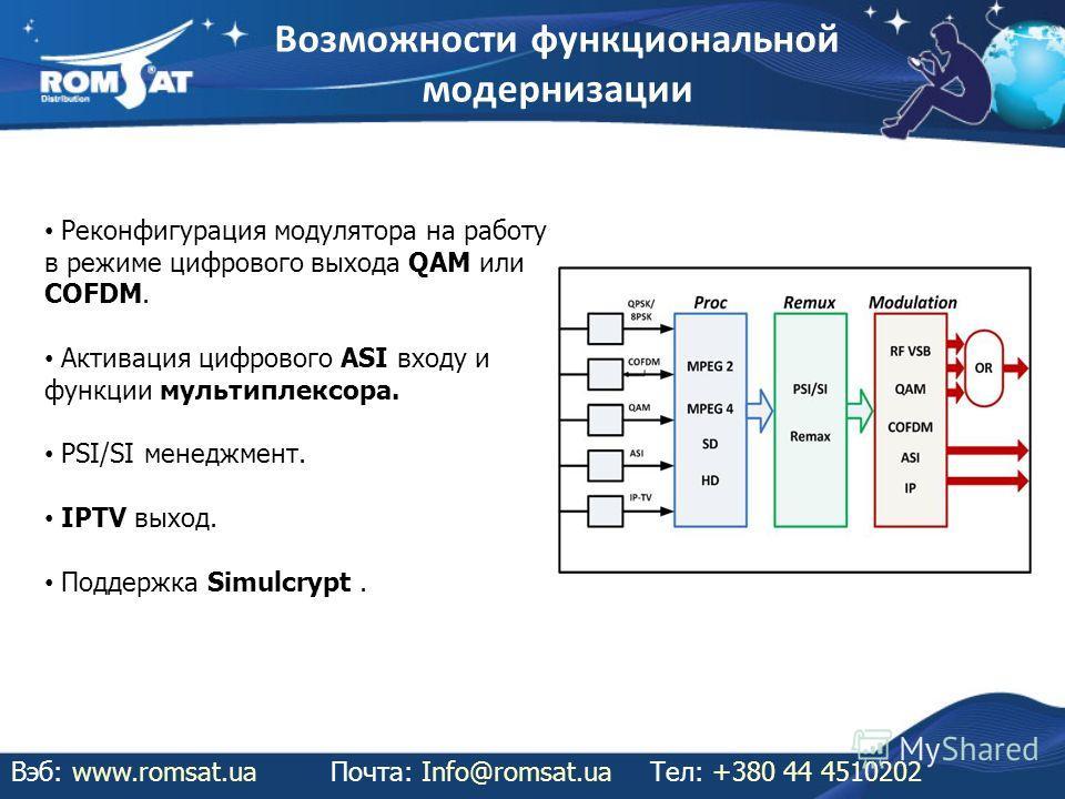 Возможности функциональной модернизации Вэб: www.romsat.uaПочта: Info@romsat.ua Тел: +380 44 4510202 Реконфигурация модулятора на работу в режиме цифрового выхода QAM или COFDM. Активация цифрового ASI входу и функции мультиплексора. PSI/SI менеджмен