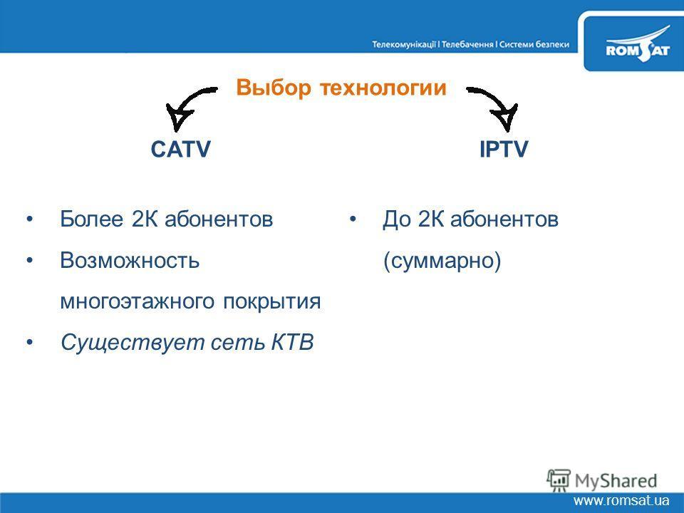 www.romsat.ua CATVIPTV Более 2К абонентов Возможность многоэтажного покрытия Существует сеть КТВ До 2К абонентов (суммарно) Выбор технологии