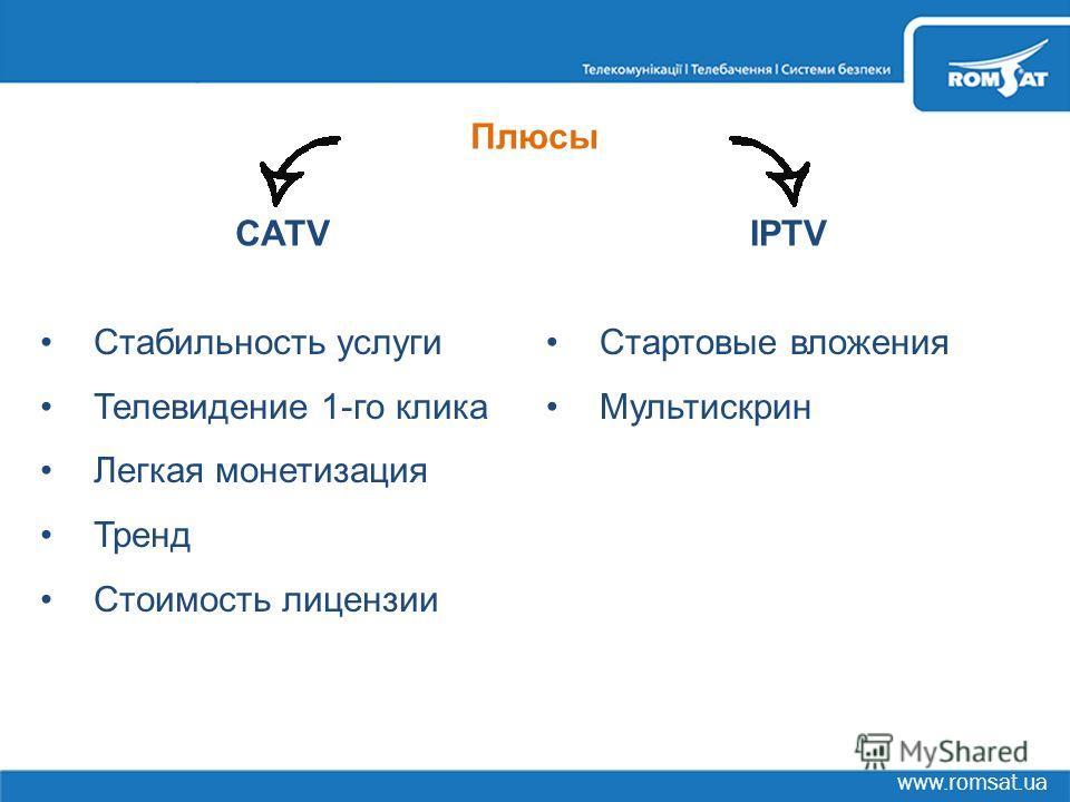 www.romsat.ua CATVIPTV Стабильность услуги Телевидение 1-го клика Легкая монетизация Тренд Стоимость лицензии Стартовые вложения Мультискрин Плюсы