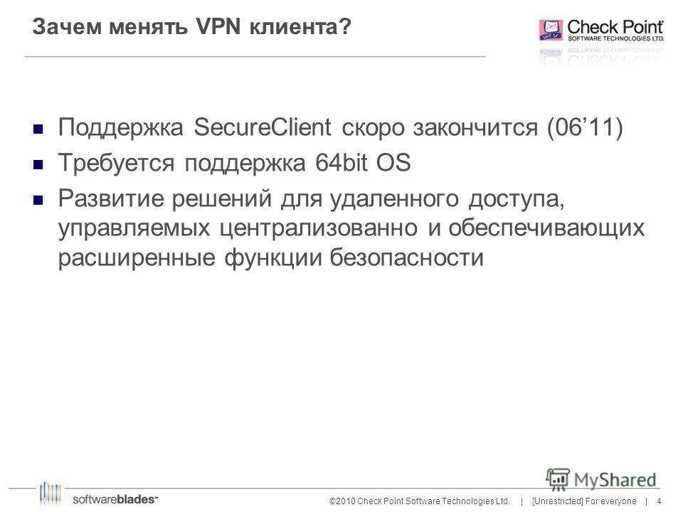 4 4©2010 Check Point Software Technologies Ltd. | [Unrestricted] For everyone | Зачем менять VPN клиента? Поддержка SecureClient скоро закончится (0611) Требуется поддержка 64bit OS Развитие решений для удаленного доступа, управляемых централизованно