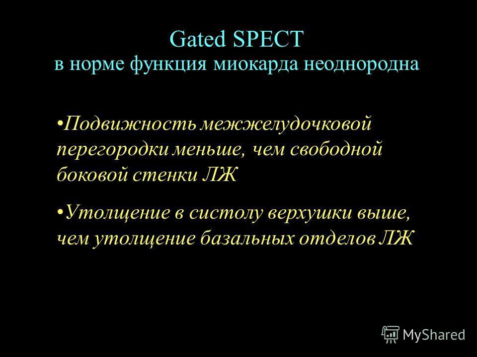 Gated SPECT в норме функция миокарда неоднородна Подвижность межжелудочковой перегородки меньше, чем свободной боковой стенки ЛЖ Утолщение в систолу верхушки выше, чем утолщение базальных отделов ЛЖ