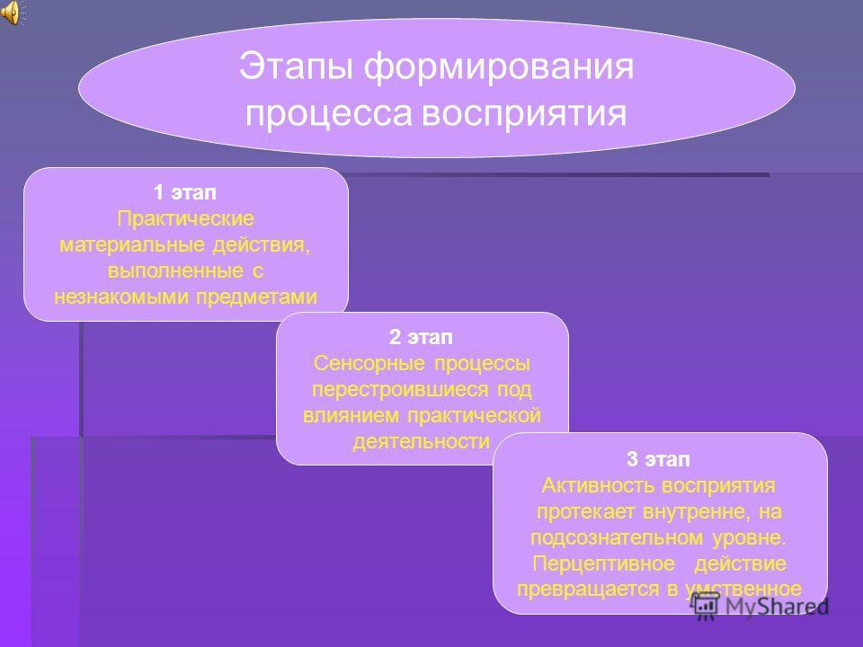 Этапы формирования процесса восприятия 1 этап Практические материальные действия, выполненные с незнакомыми предметами 2 этап Сенсорные процессы перестроившиеся под влиянием практической деятельности 3 этап Активность восприятия протекает внутренне,