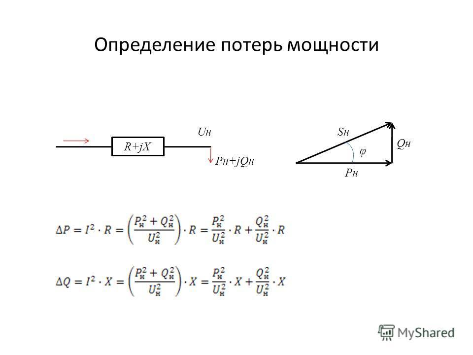 Определение потерь мощности R+jX UнUн Pн+jQн φ PнPн QнQн SнSн