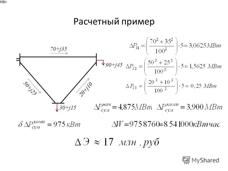 Расчетный пример 70+j35 50+j25 20+j10 30+j15 90+j45