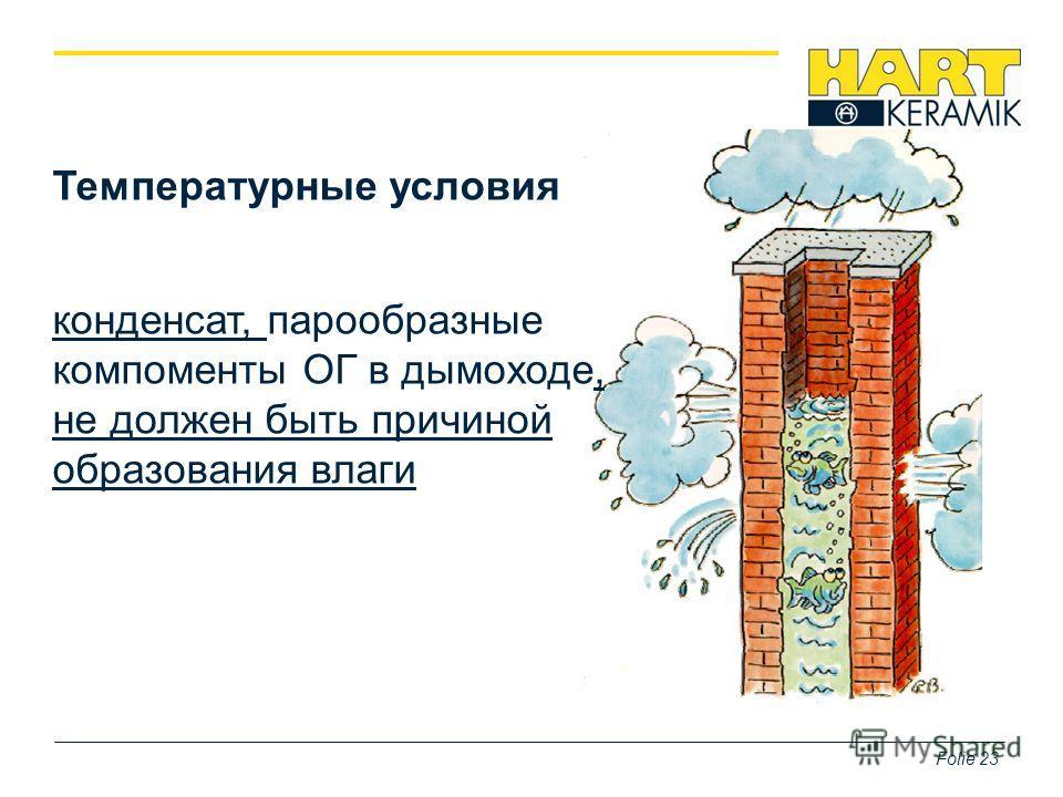 Температурные условия конденсат, парообразные компоменты ОГ в дымоходе, не должен быть причиной образования влаги Folie 23