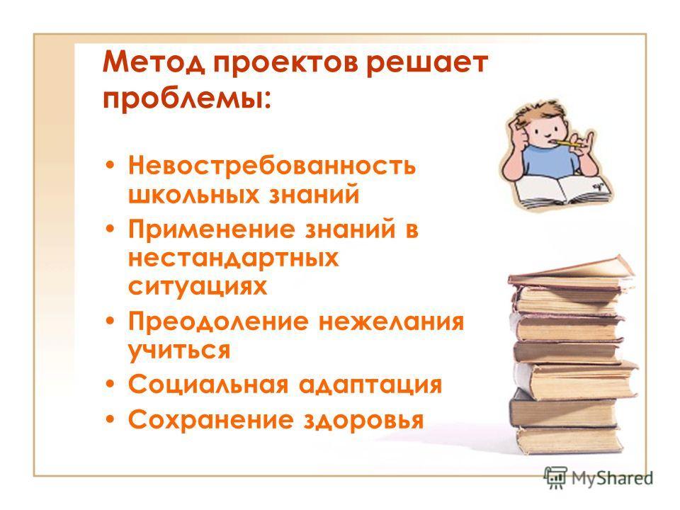 Метод проектов решает проблемы: Невостребованность школьных знаний Применение знаний в нестандартных ситуациях Преодоление нежелания учиться Социальная адаптация Сохранение здоровья