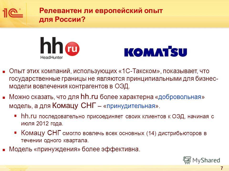 Релевантен ли европейский опыт для России? Опыт этих компаний, использующих «1С-Такском», показывает, что государственные границы не являются принципиальными для бизнес- модели вовлечения контрагентов в ОЭД. Можно сказать, что для hh.ru более характе