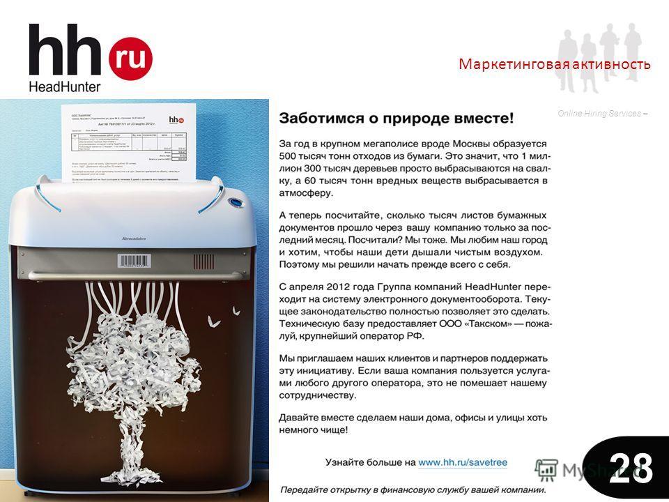 www.hh.ru Online Hiring Services 28 Маркетинговая активность