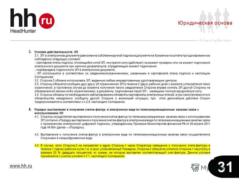 www.hh.ru Online Hiring Services 31 Юридическая основа