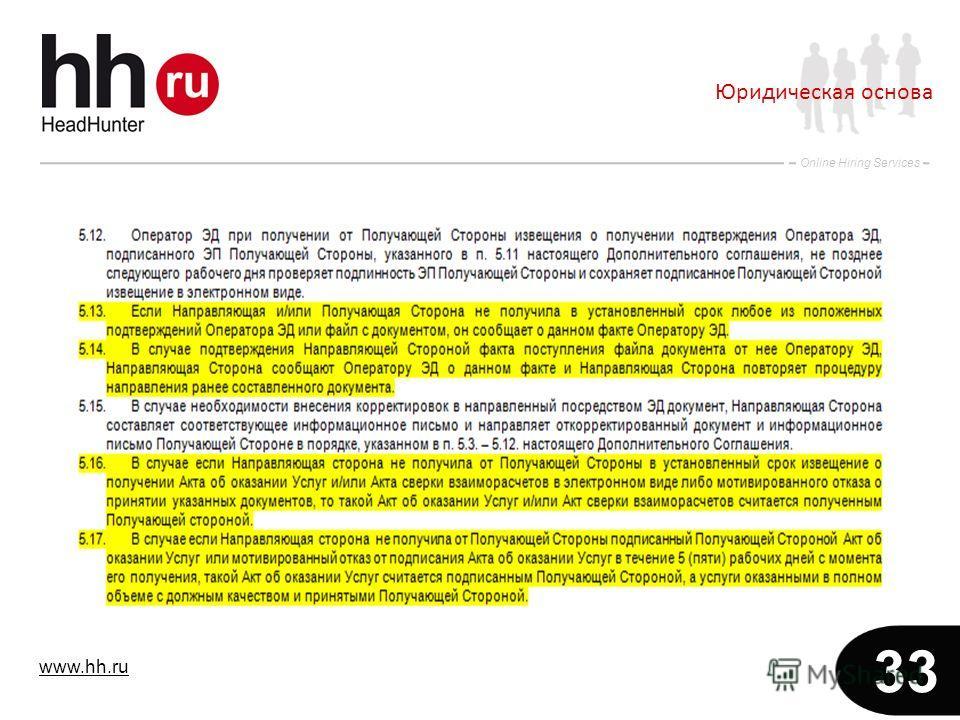 www.hh.ru Online Hiring Services 33 Юридическая основа