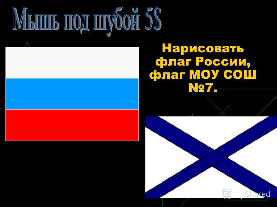 Нарисовать флаг России, флаг МОУ СОШ 7.