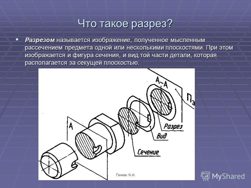 Что такое разрез? Разрезом называется изображение, полученное мысленным рассечением предмета одной или несколькими плоскостями. При этом изображается и фигура сечения, и вид той части детали, которая располагается за секущей плоскостью. Ганиев Ф.И.