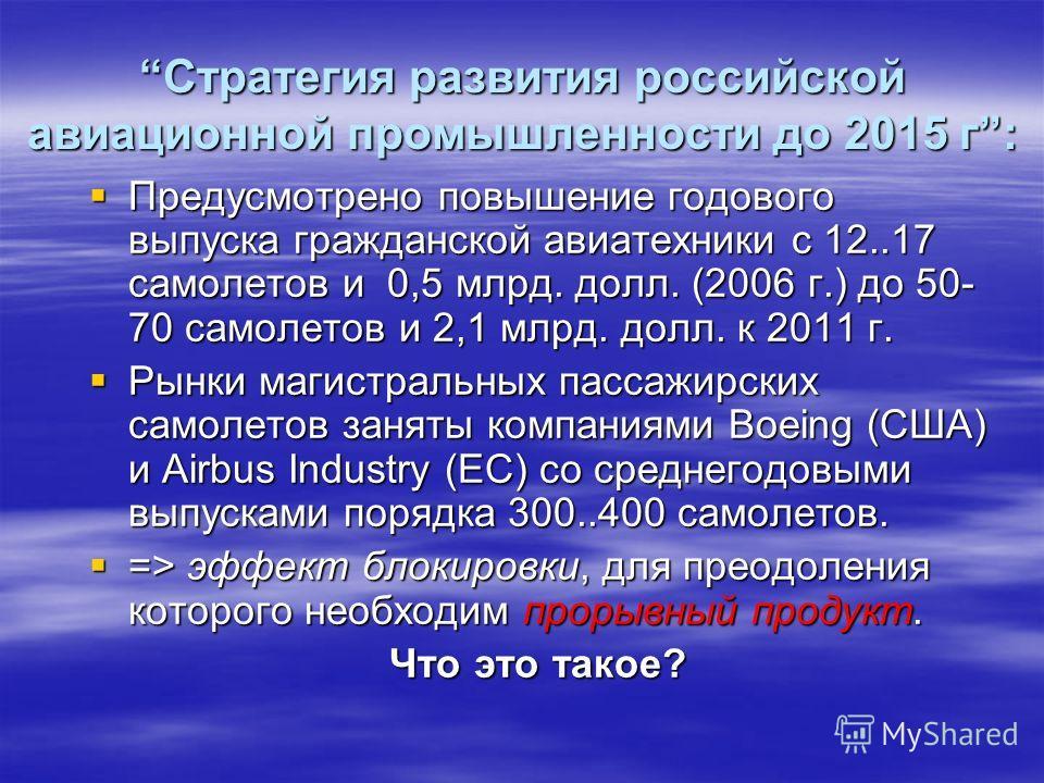 Стратегия развития российской авиационной промышленности до 2015 г:Стратегия развития российской авиационной промышленности до 2015 г: Предусмотрено повышение годового выпуска гражданской авиатехники с 12..17 самолетов и 0,5 млрд. долл. (2006 г.) до