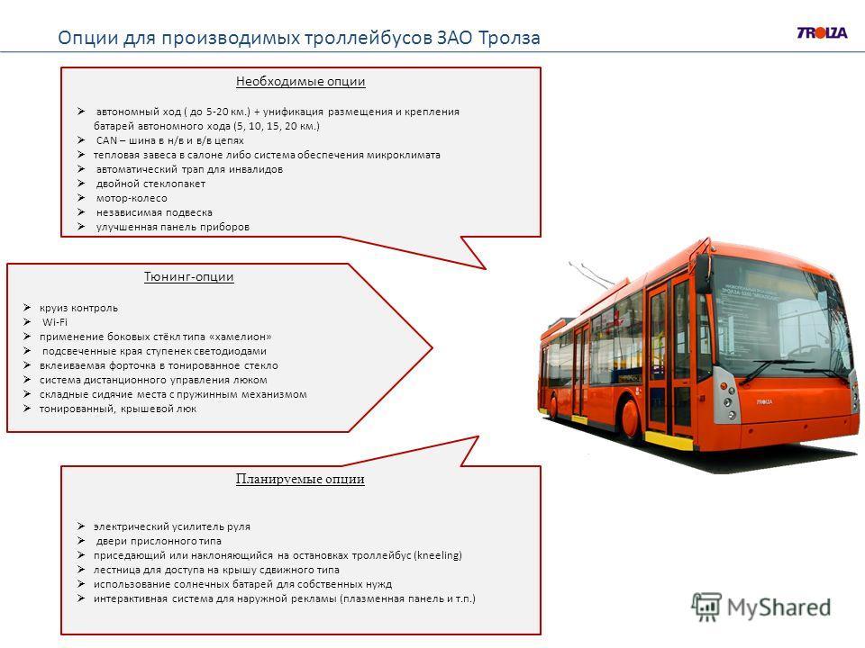 Опции для производимых троллейбусов ЗАО Тролза Необходимые опции автономный ход ( до 5-20 км.) + унификация размещения и крепления батарей автономного хода (5, 10, 15, 20 км.) CAN – шина в н/в и в/в цепях тепловая завеса в салоне либо система обеспеч