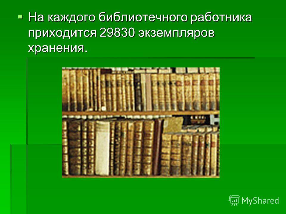На каждого библиотечного работника приходится 29830 экземпляров хранения. На каждого библиотечного работника приходится 29830 экземпляров хранения.