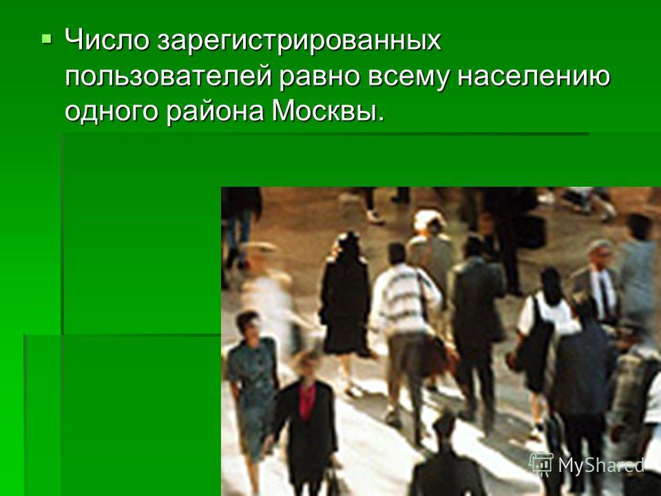 Число зарегистрированных пользователей равно всему населению одного района Москвы. Число зарегистрированных пользователей равно всему населению одного района Москвы.
