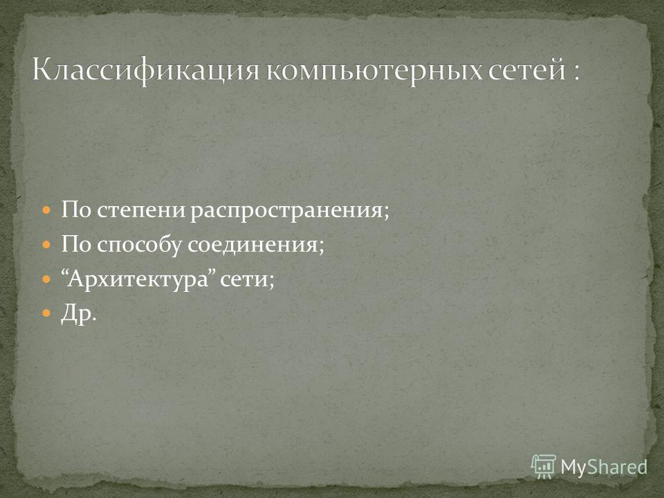 По степени распространения; По способу соединения; Архитектура сети; Др.