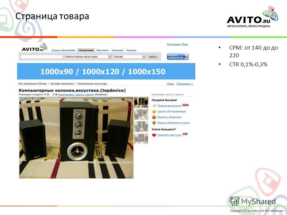 CPM: от 140 до до 220 СTR 0,1%-0,3% 10 Страница товара