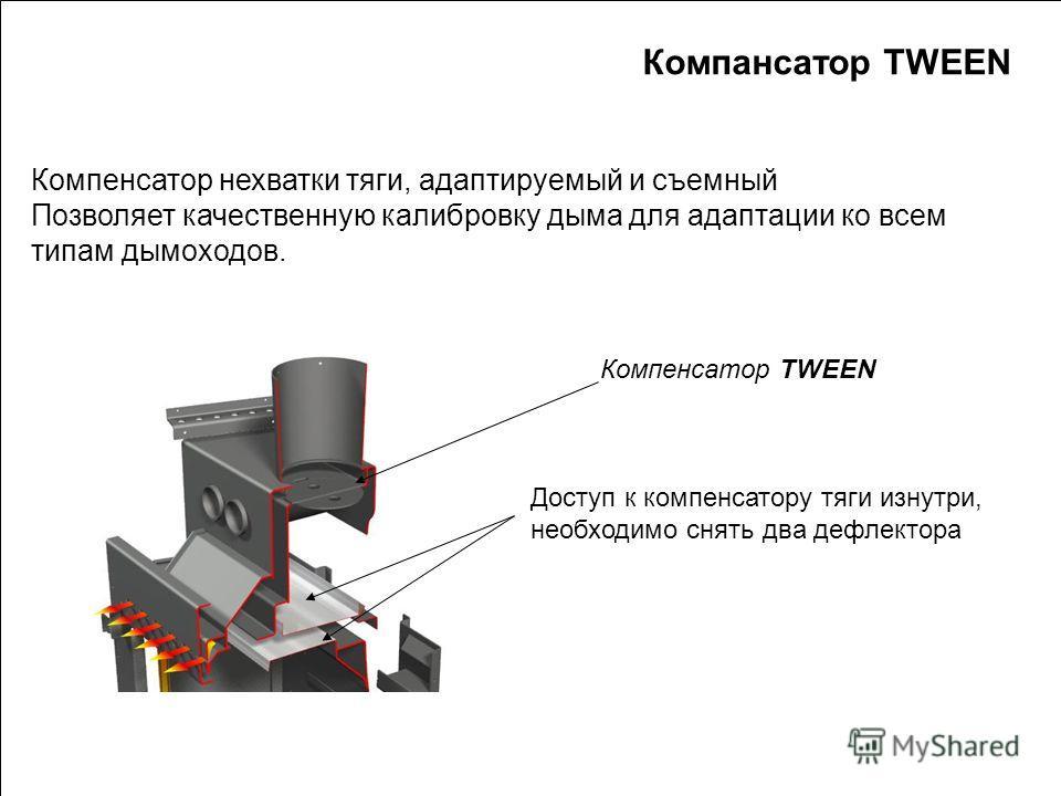 SUPRA 2010 Компенсатор нехватки тяги, адаптируемый и съемный Позволяет качественную калибровку дыма для адаптации ко всем типам дымоходов. Компенсатор TWEEN Доступ к компенсатору тяги изнутри, необходимо снять два дефлектора Компансатор TWEEN