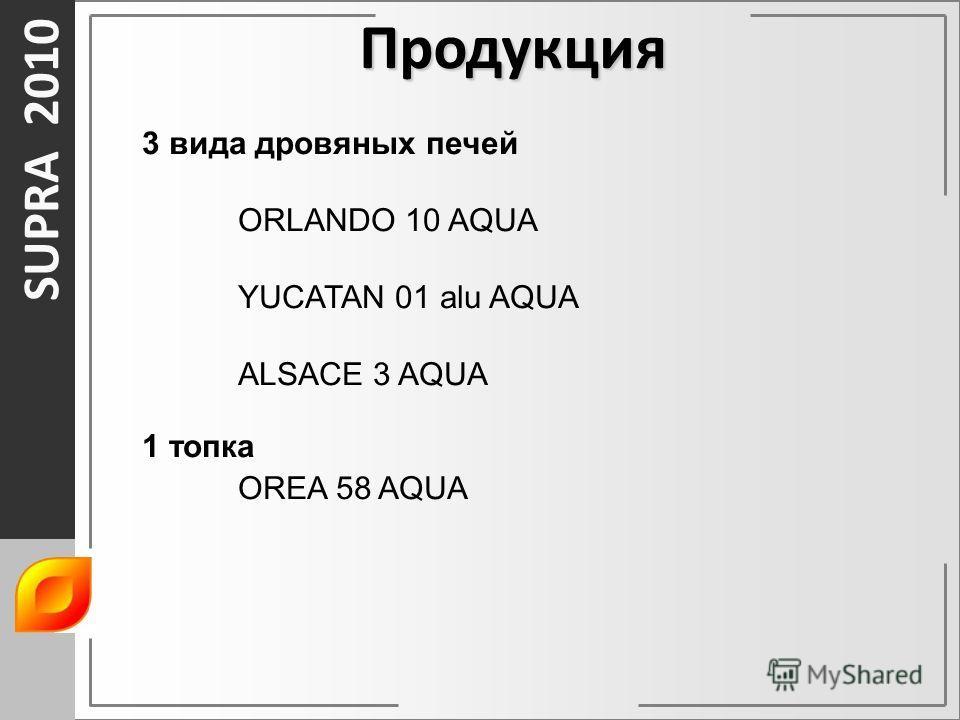 SUPRA 2010 Продукция 3 вида дровяных печей ORLANDO 10 AQUA YUCATAN 01 alu AQUA ALSACE 3 AQUA 1 топка OREA 58 AQUA