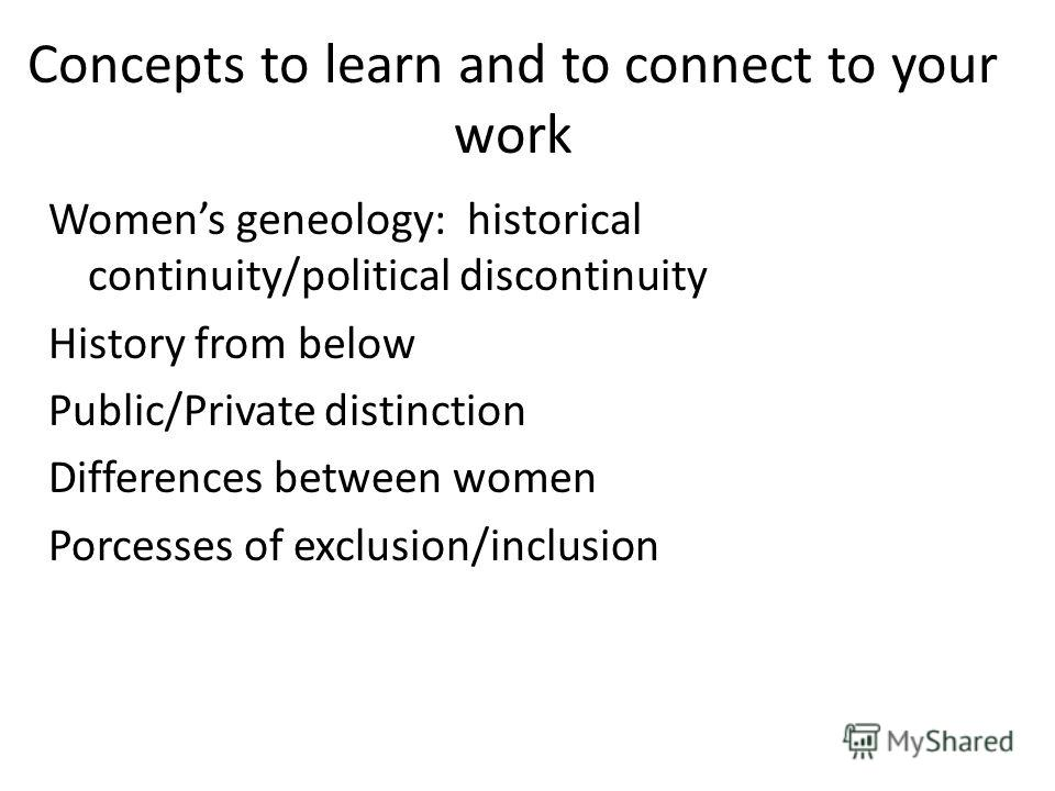 Concepts to learn and to connect to your work Womens geneology: historical continuity/political discontinuity History from below Public/Private distinction Differences between women Porcesses of exclusion/inclusion