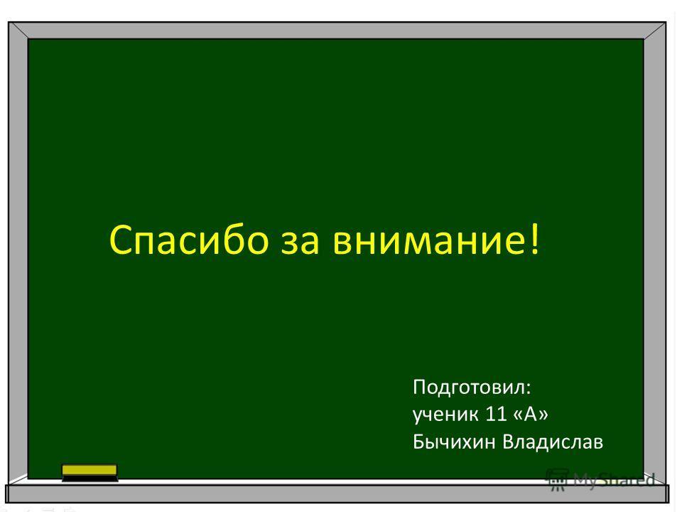 Спасибо за внимание! Подготовил: ученик 11 «А» Бычихин Владислав